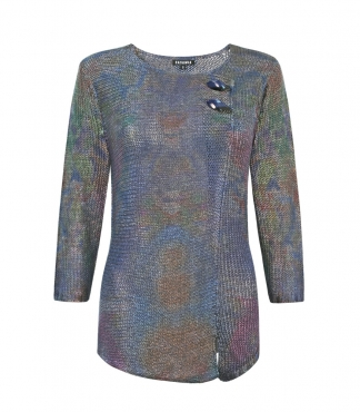 3/4 Sleeved Multicolour Jumper with Mock Cross Over