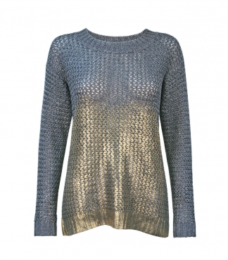 Fancy Knit Scoop Neck Jumper with Metallic Print
