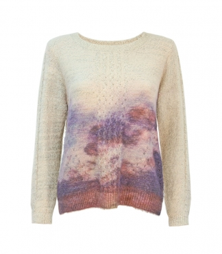 Crew Neck Printed Sunset Jumper