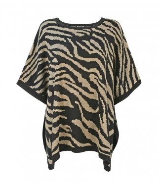 Crew Neck Poncho in Zebra Stripe Pattern