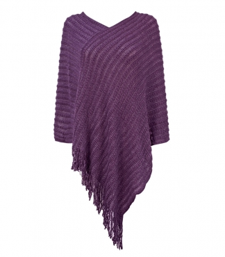 Fringe Stripe Design Poncho with Metallic Thread