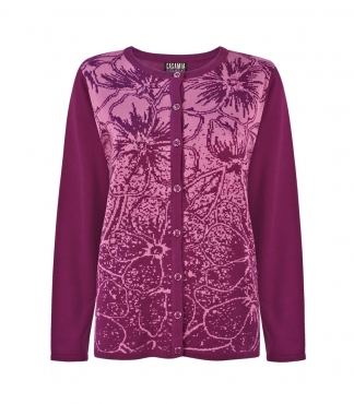 Button Through Cardigan with Floral Pattern and Jewels