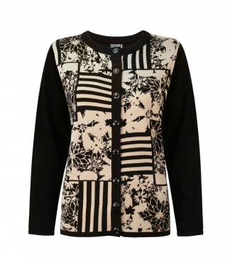 Button Through Cardigan with Stripe and Floral Pattern