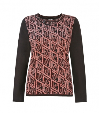 Cross Neck Jumper with Cube Pattern and Diamante