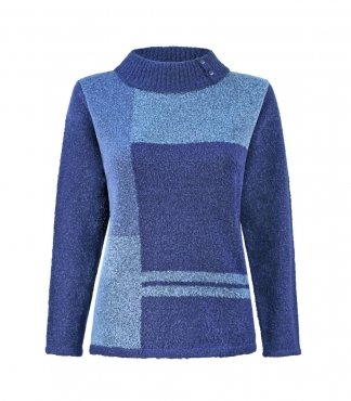 Boucle Yarn Jumper with Fold Back Collar