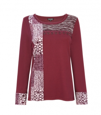 Scoop Neck Printed Velvet Panel Top