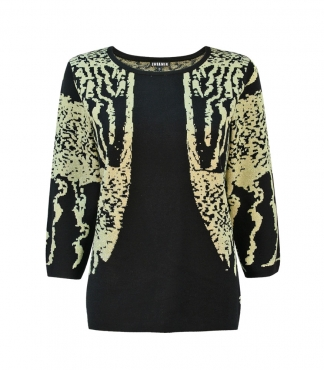3/4 Sleeved Jumper with Double Jacquard Metallic Pattern