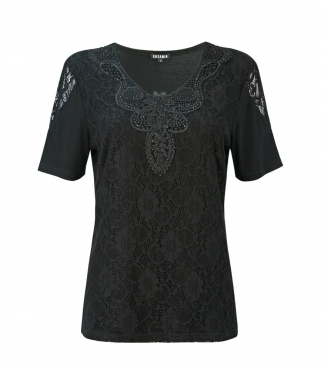 T-Shirt with Diamante Lace Front and Neck