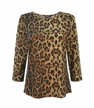 Scoop Neck Leopard Spot and Metallic Top