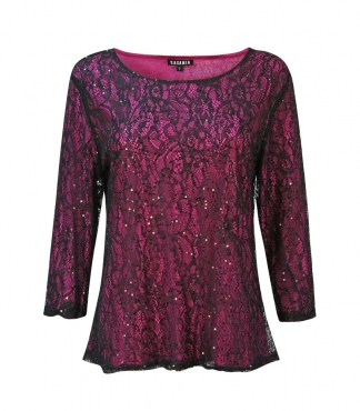 3/4 Sleeved Lace Top with Contrast Lining