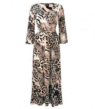 Wrap style Dress with All-Over Leopard Print