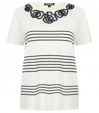 Short Sleeved Jumper with Stripes and Swirl Detail