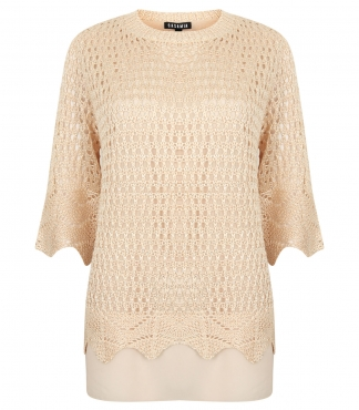 Half-Sleeve Crochet Sequin Top