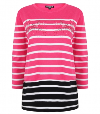 Striped Jumper with Diamante Leaf Design