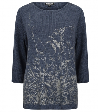 Three Quarter Sleeved Jumper with a Printed Metallic Pattern