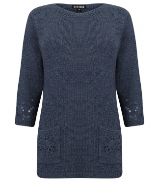 Three Quarter Sleeved Jumper with Pointelle Pockets