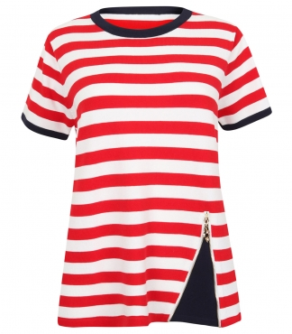 Short Sleeved Striped Jumper with Zip Detail *up to XXL available