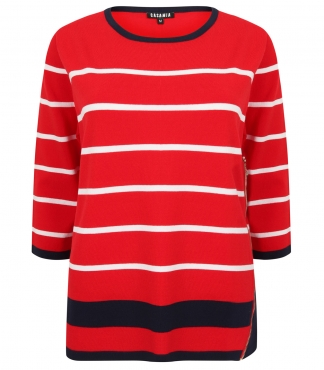 Three Quarter Sleeved Striped Jumper with Contrast Trims
