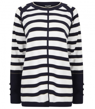 Long Sleeved Striped Jumper with Split Cuff