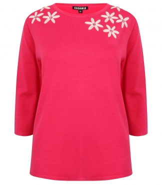 Three Quarter Sleeved Jumper with Embroidered Daisies *up to XXL available*