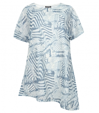 Printed Tunic Top with Asymmetrical Hem