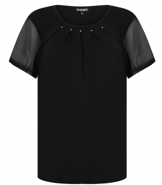 T-Shirt with Pleats and Diamante Detail