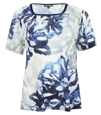 Square Neck T-Shirt with Floral Print