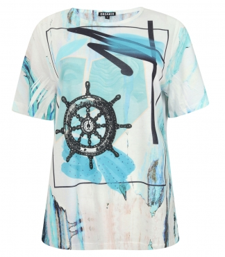 T-Shirt with Ship's Wheel Print