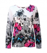 Round Neck Cardigan with Large Floral Print