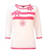 Jumper with Applique Flowers and Stripes
