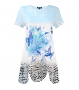 T-Shirt with Butterfly Print and Lace Hem