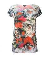 Cap Sleeved Abstract Floral Printed Top