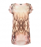 Leaf Printed Top with Knitted Front