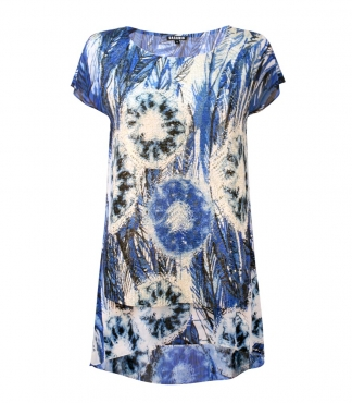 Cap Sleeved Circle and Leaf Printed Top