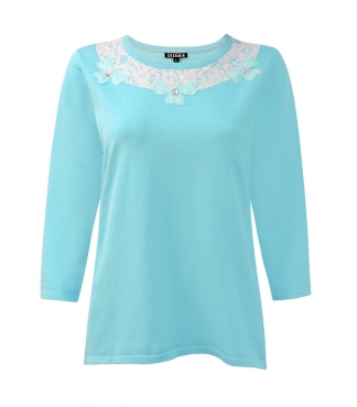 Jumper with Lace Flower and Jewel Neckline