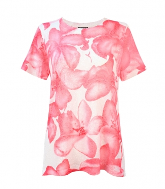 Floral Print Design Short Sleeves Jumper