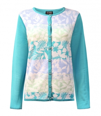 Button Through Cardigan with Hawaiian Floral Pattern