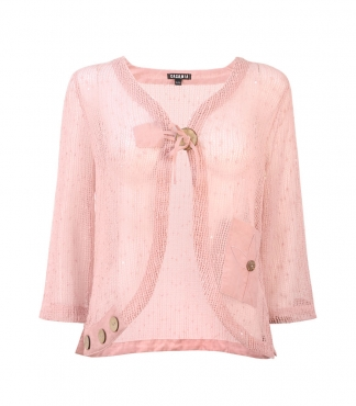 Mesh Bolero Cardigan with Pocket