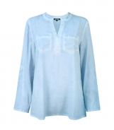 Cotton Shirt with Diamante Patch Pockets