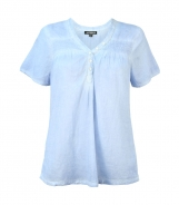 Short Sleeves Cotton Shirt with Gathered Panels
