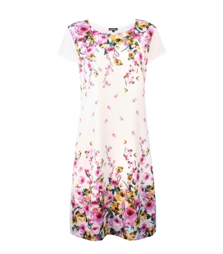 Cap Sleeves Floral Rose Dress