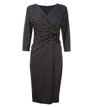 Gathered Wrap Front Dress in Polka Dot Print