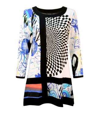 Tunic Top with Circle and Flower Print