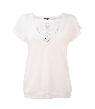 Short Sleeved Top with Lace Insterts and Diamante