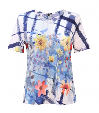 T-Shirt with Checks and Flowers