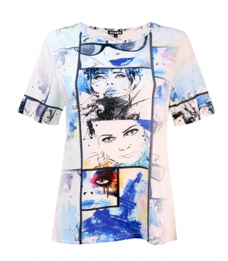 T-Shirt with Multi Face Film Print and Diamante