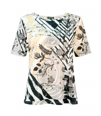Rose and Line Print T-Shirt with Diamante