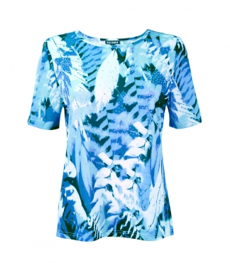 Fancy Leaf Print T-shirt with Diamante Detail