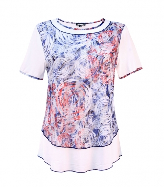 Circle Printed Layered Lace T-Shirt