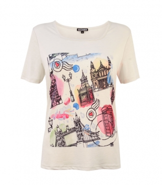 London Land Marks Print T-Shirt with Diamante Detail